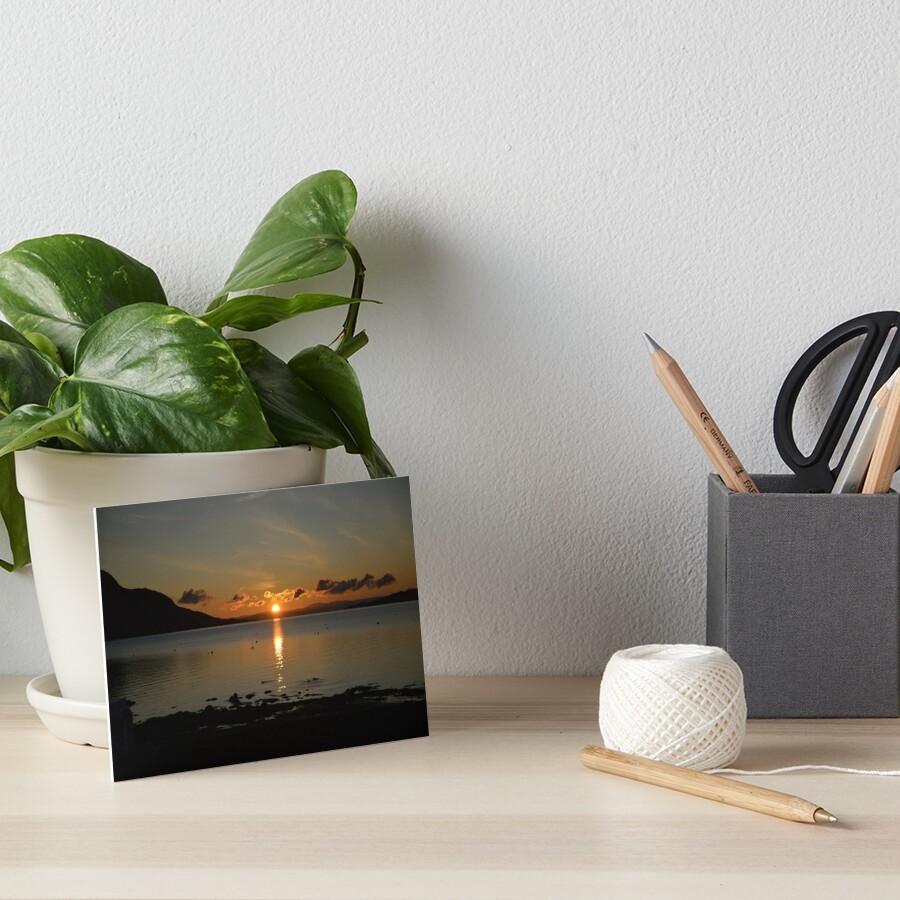 Sunrise Holy Isle Arran Art Board Print