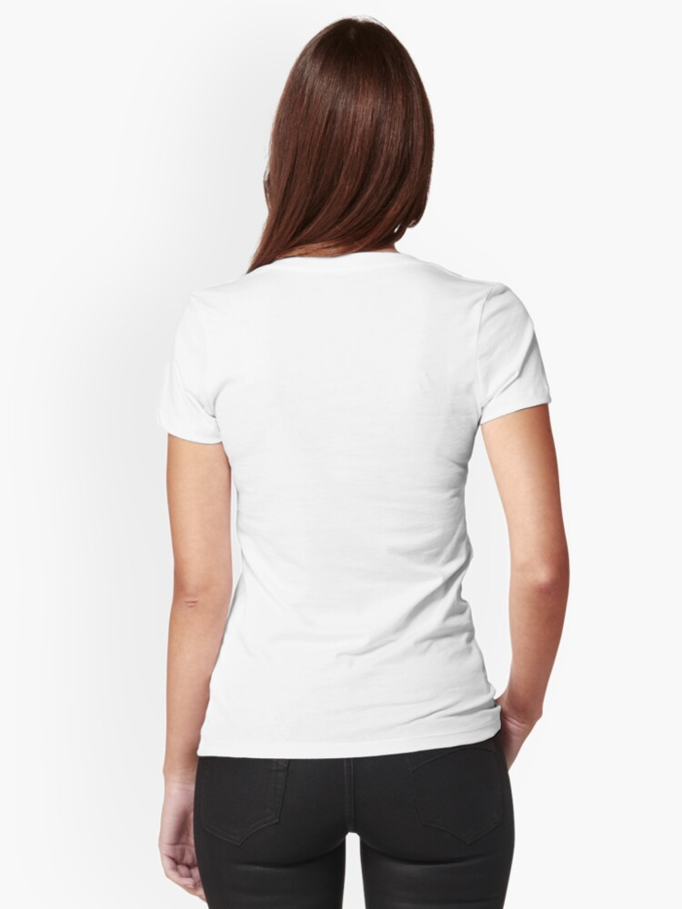 Alternate view of White-faced Cockatiel Tattoo-style Fitted V-Neck T-Shirt