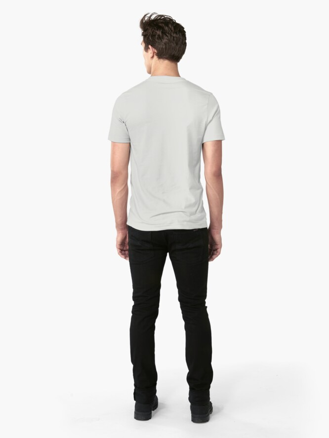 Alternate view of Black Cat Holding On Slim Fit T-Shirt